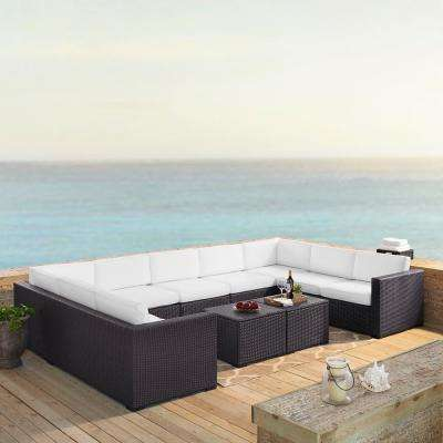 Biscayne 9-Person Wicker Outdoor Seating Set with White Cushions - 4 Loveseats, 1 Armless Chair, 2 Coffee Tables