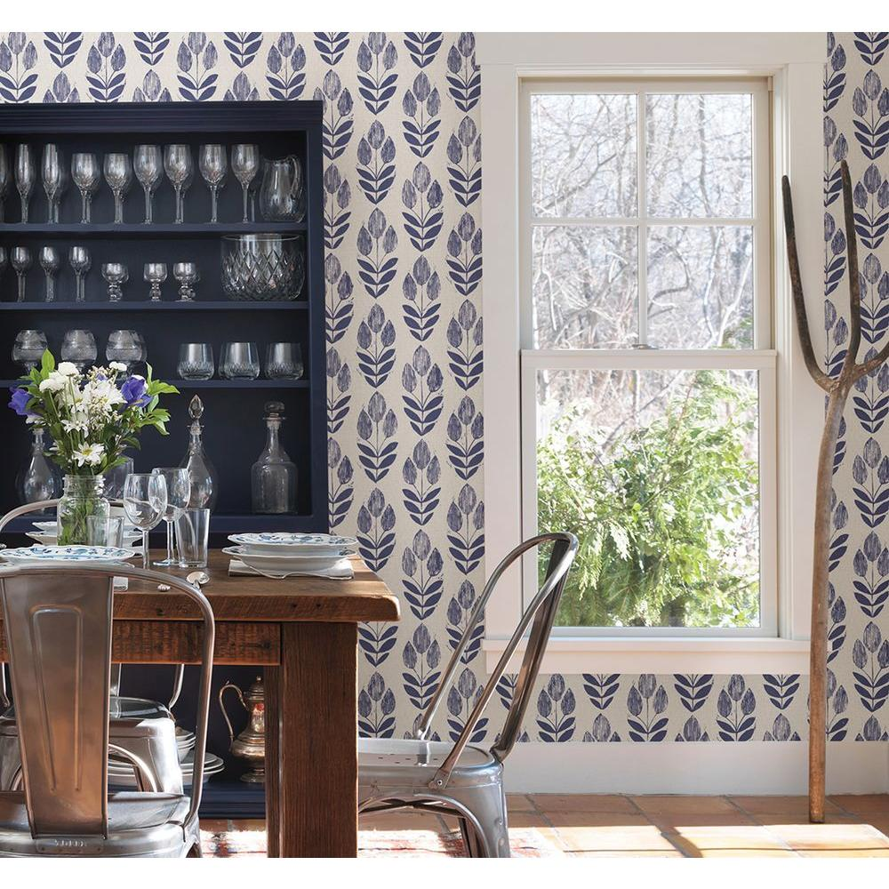 Beacon House Scandinavian Blue Block Print Tulip Wallpaper Sample