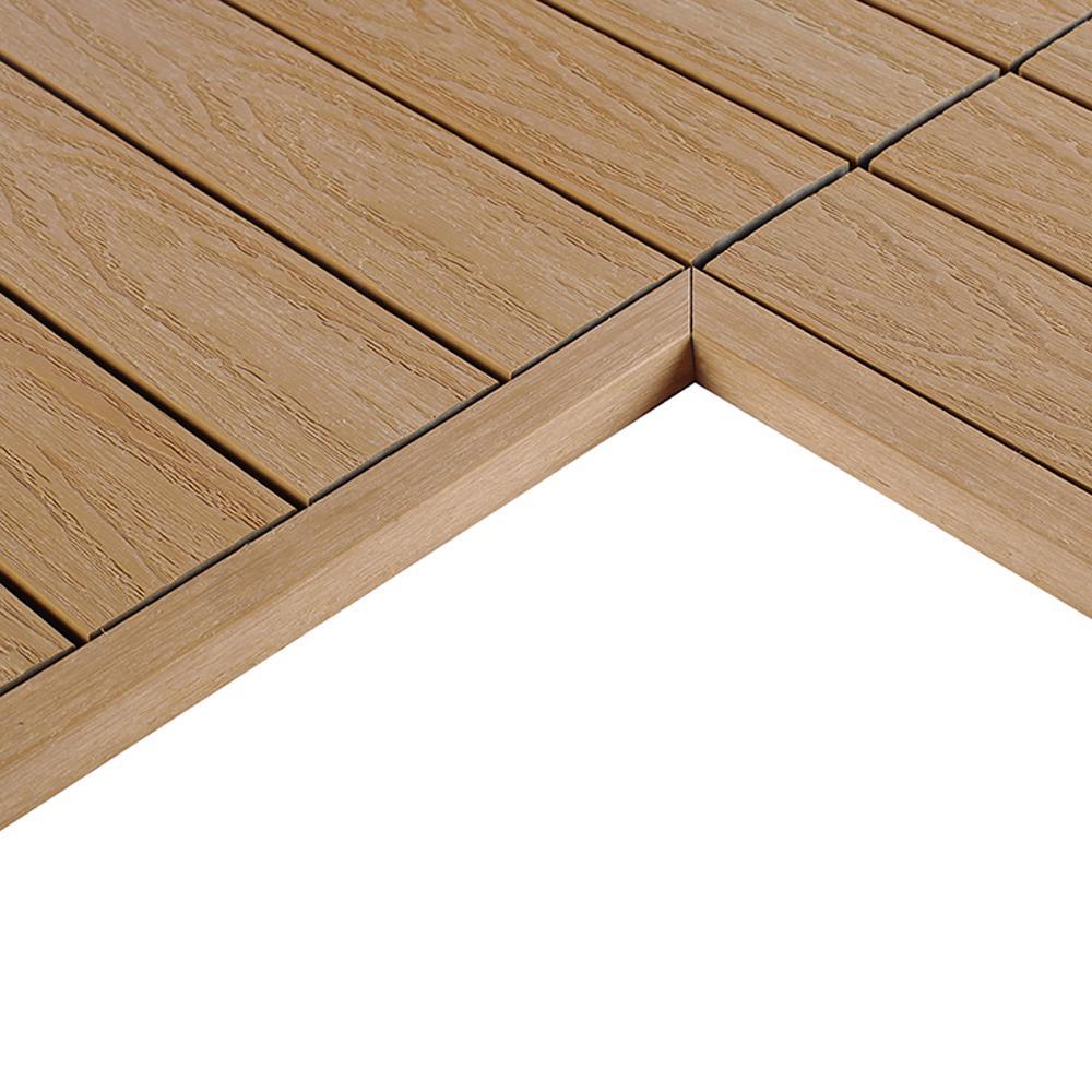 1/12 ft. x 1 ft. Quick Deck Composite Deck Tile Inside Corner Fascia in Canadian Maple (2-Pieces/Box)