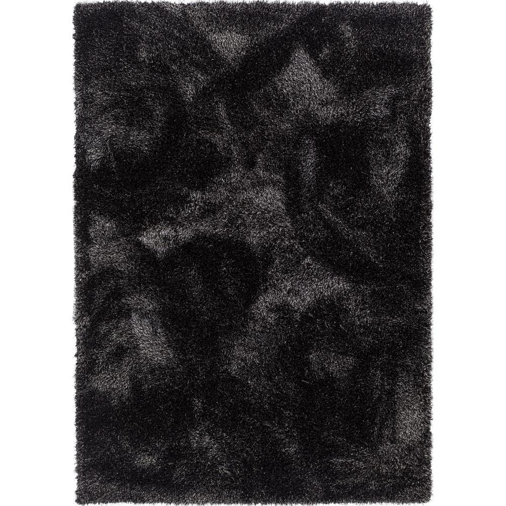 Black modern solid shag thick area rug