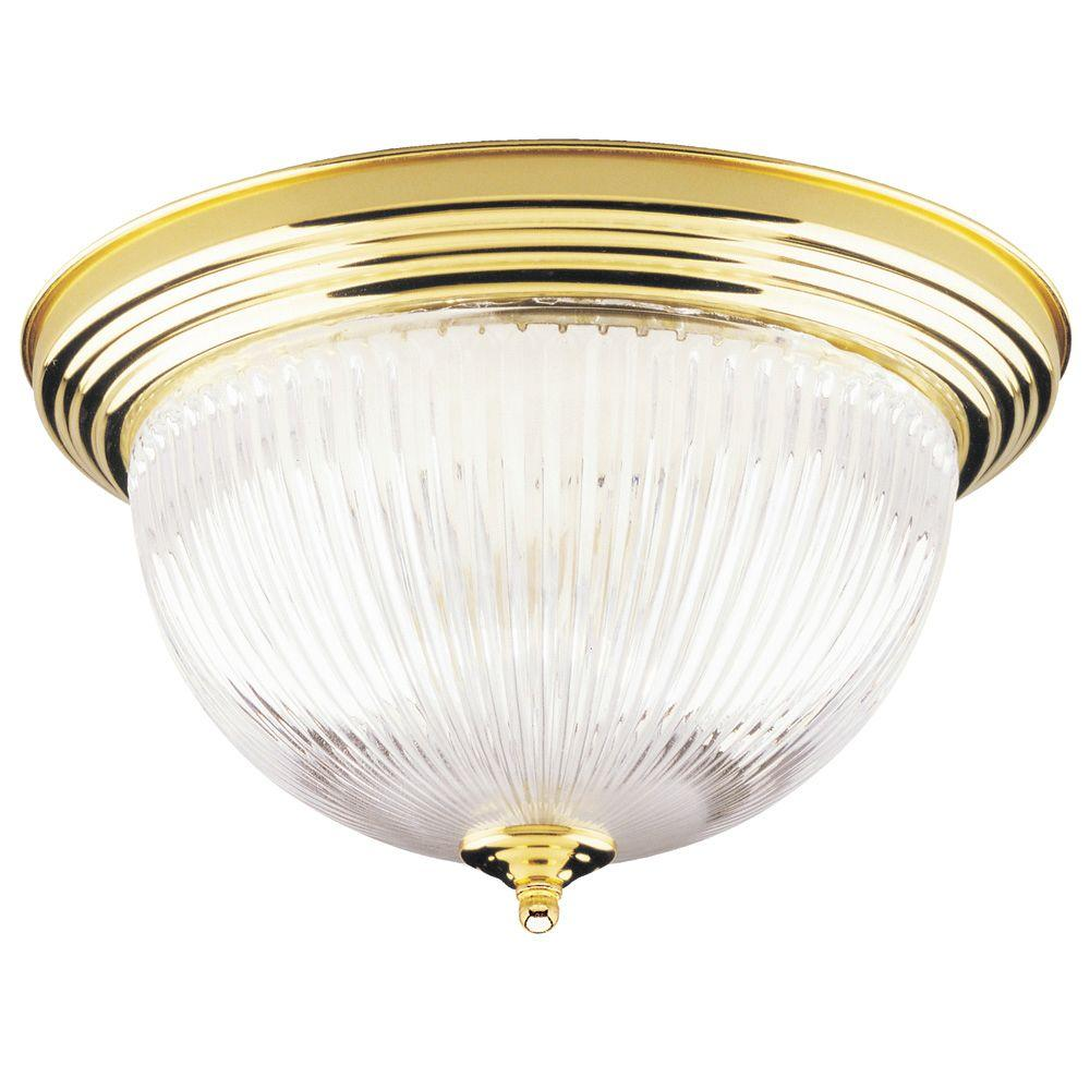 Westinghouse 2 Light Ceiling Fixture Polished Brass Interior Flush Mount With Crystal Ribbed Glass