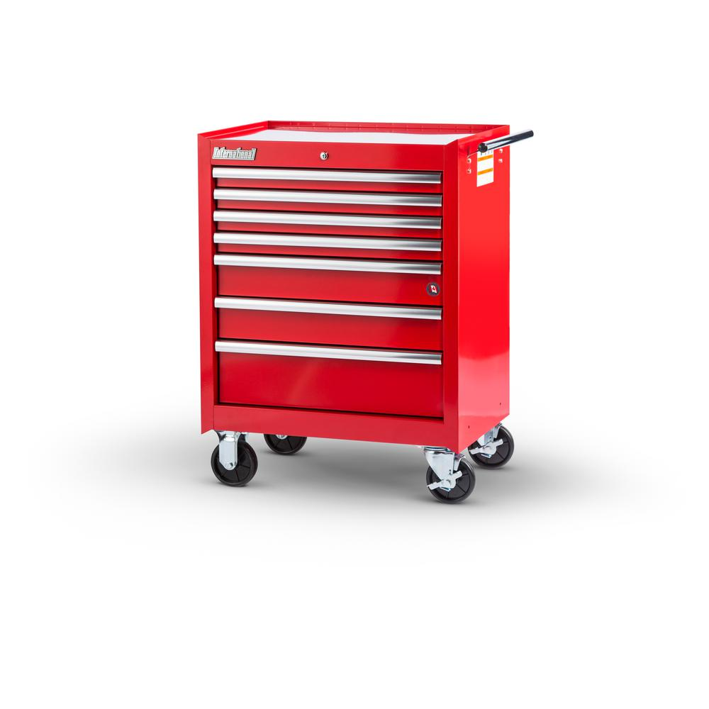 27 in. Tech Series 7-Drawer Cabinet, Red