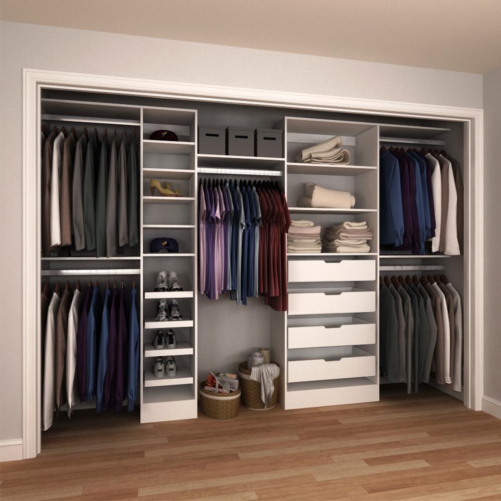 84 in. H x 90 in. to 180 in. W x 15 in. D Melamine Reach-In Closet Kit in White