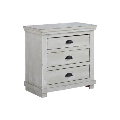 Willow 3-Drawer Gray Chalk Nightstand