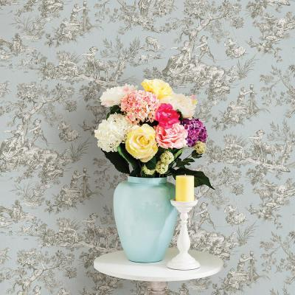 Whitney Light Blue Toile Wallpaper
