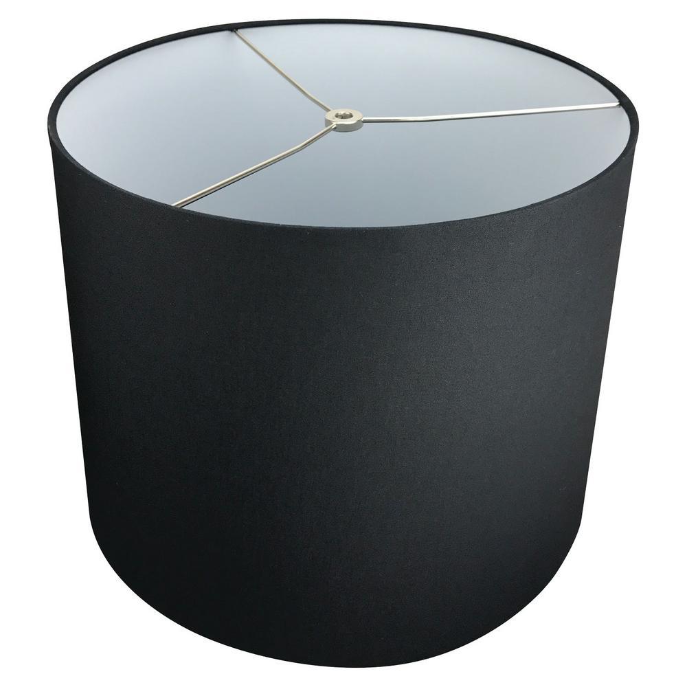 14 in. Top Diameter x 16 in. Bottom Diameter x 12 in. Slant Linen Black Empire Lamp Shade