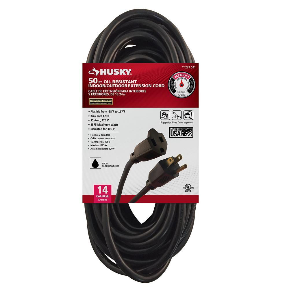 Husky 50 ft. 14/3 Oil Resistant Indoor/Outdoor Extension Cord, Black