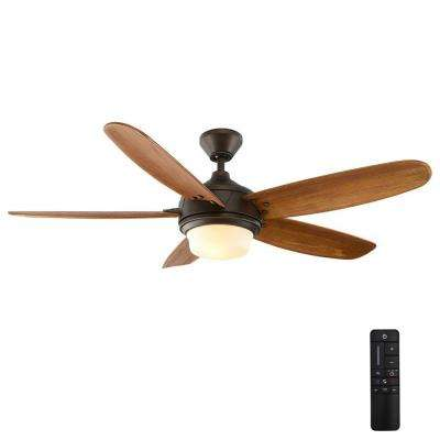 Breezemore 56 in. Indoor Mediterranean Bronze Ceiling Fan with Light Kit and Remote Control
