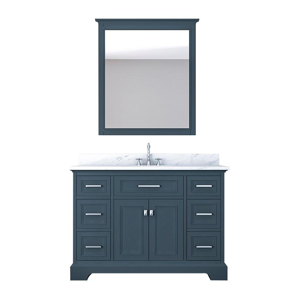 Design Element Laxton 49 in. W x 22 in. D Bath Vanity in Gray with Marble Vanity Top in White with White Basin and Mirror