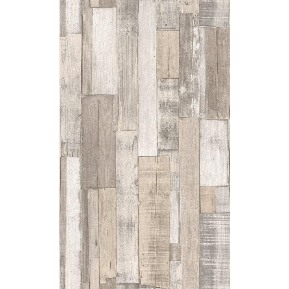 Internet 206409798 Washington Wallcoverings Distressed White Faux Wood Slats Vinyl Wallpaper