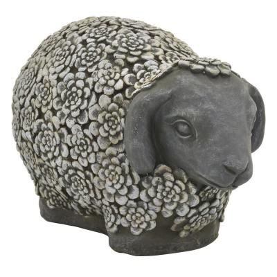 14 in. x 8 in. x 9 in. Sheep Garden Decoration in Gray Resin/Magnesium