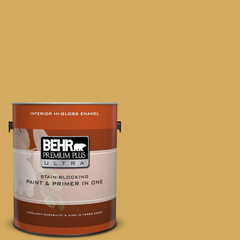 1 gal. #350D-5 French Pale Gold Hi-Gloss Enamel Interior Paint