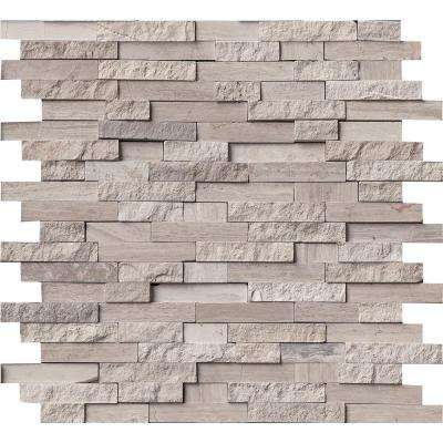 White Quarry Split Face 12 in. x 12 in. x 10mm Marble Mesh-Mounted Mosaic Tile (10 sq. ft. / case)
