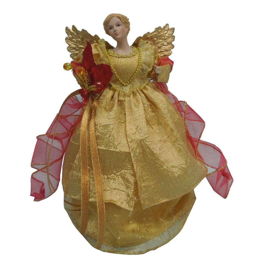 null 12 in. Gold Fabric Angel Tree Topper