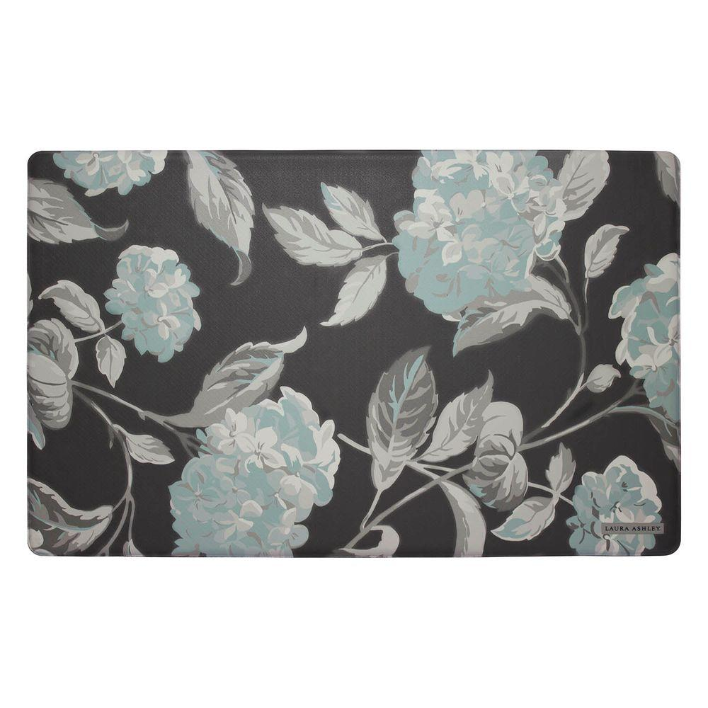 Laura Ashley Hydrangea Dark Gray 20 in. x 32 in. Memory Foam Kitchen Mat