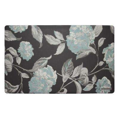 Hydrangea Dark Gray 20 in. x 32 in. Memory Foam Kitchen Mat