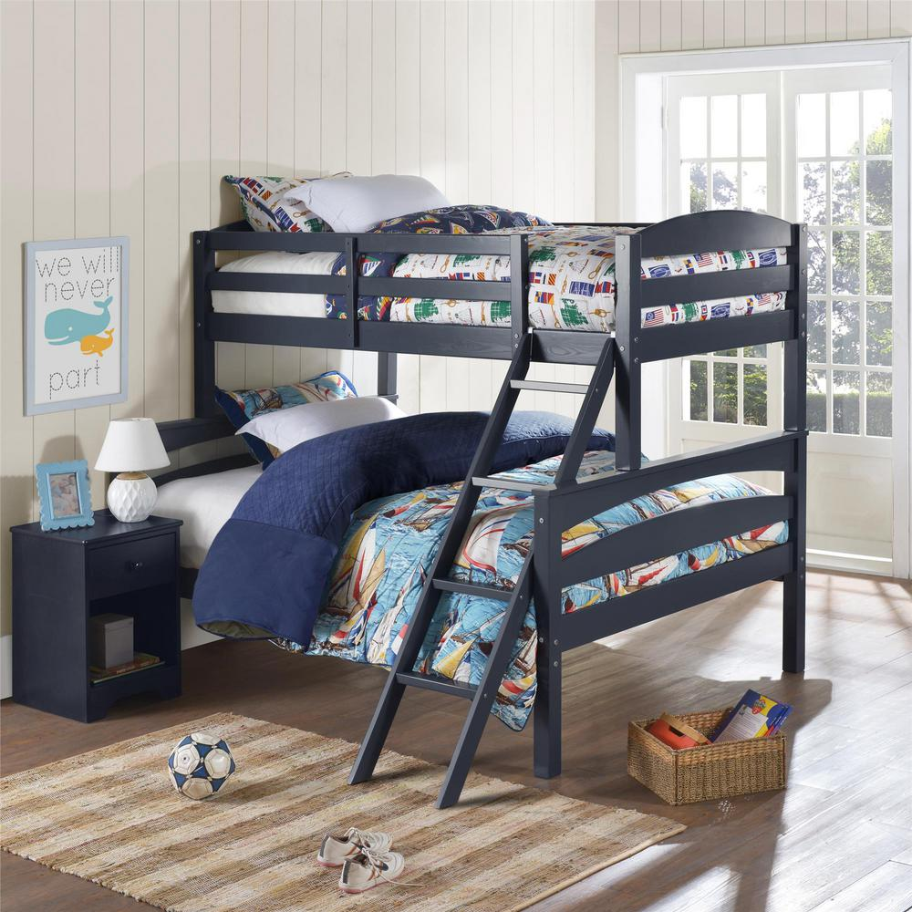 Dorel Living Brady Twin Over Full Graphite Blue Wood Bunk Bed
