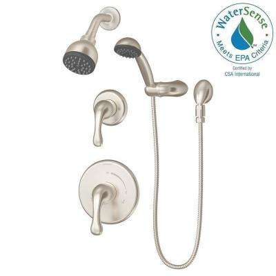 Unity 1-Spray Hand Shower and Shower Head Combo Kit in Satin Nickel (Valve Included)