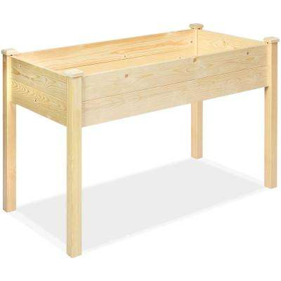 49 in. Dia Natural Wood Garden Raised Bed Elevated Vegetable Planter with Black Liner