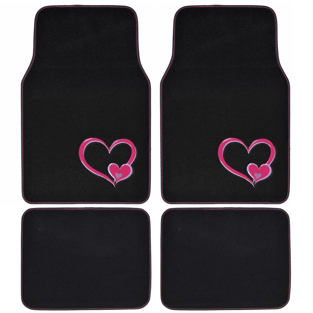 BDK Two Pink Hearts Love MT 539 Design 4 Pieces Carpet Car