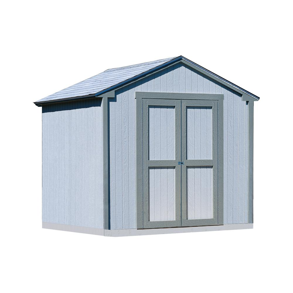 Handy Home Products Kingston 8 ft. x 8 ft. Wood Shed Kit with Floor Frame