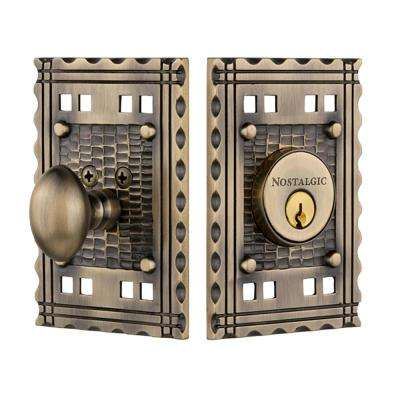 Craftsman Plate 2-3/4 in. Antique Brass Backset Single Cylinder Deadbolt