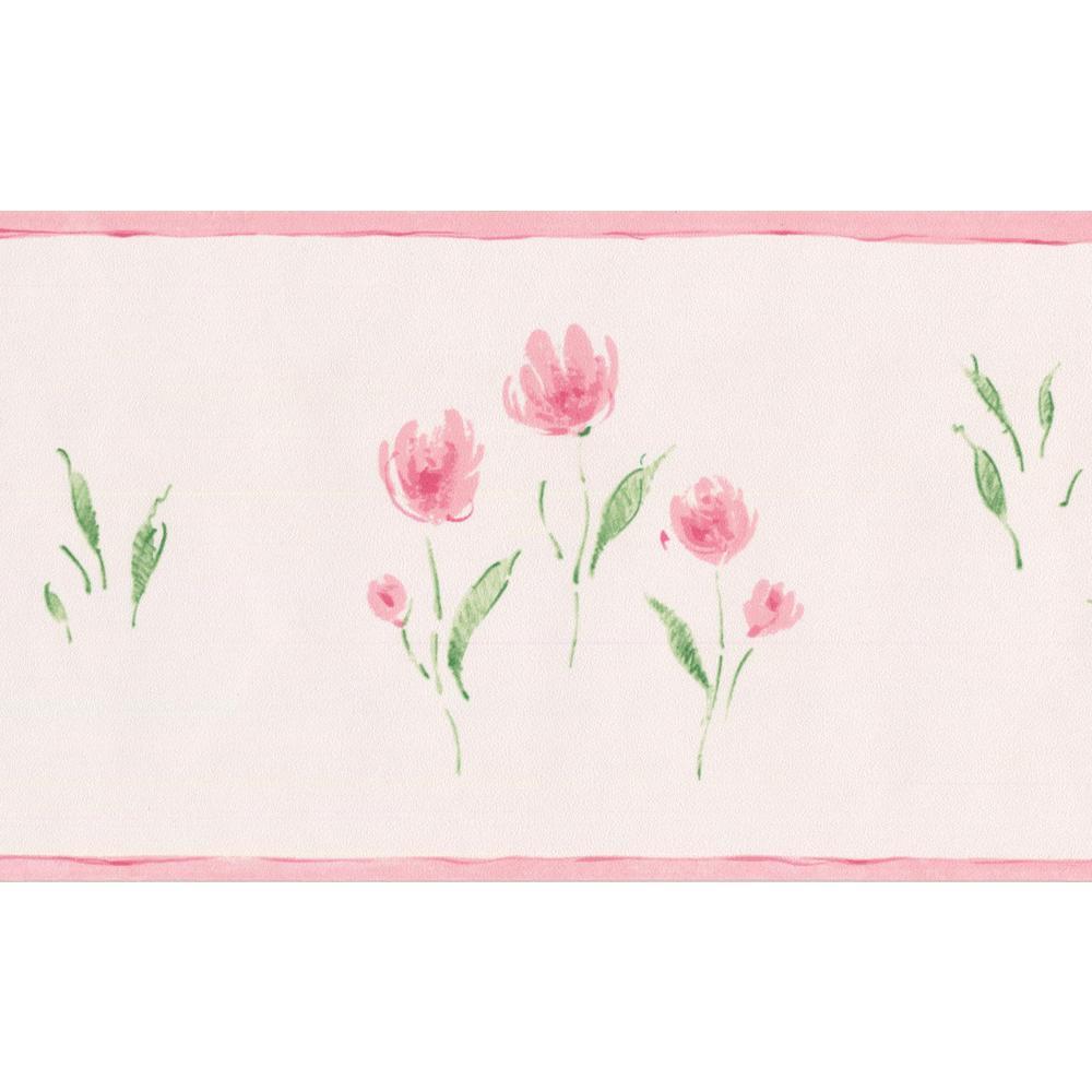 Norwall Rose Meadow Flowers Blush Pink Vintage Floral Prepasted
