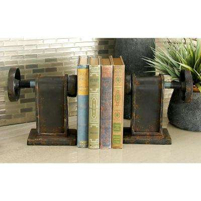 8 in. x 7 in. Rustic Black Industrial Wheel Bookends (Set of 2)