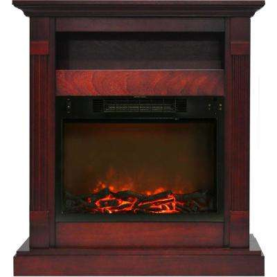 Drexel 34 in. Electric Fireplace with 1500-Watt Log Insert and Cherry Mantel