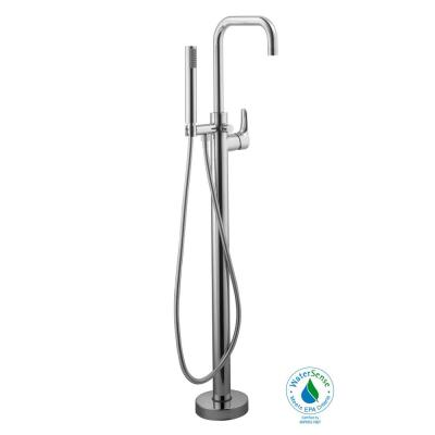 Modern Single-Handle Freestanding Floor Mount Tub Faucet with Handheld Showerhead in Chrome
