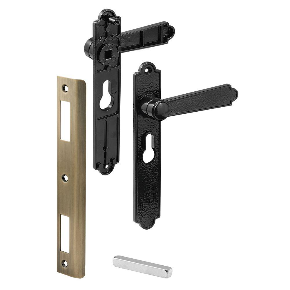 Prime Line Security Door Lever Set, Black Dimpled, Blacks