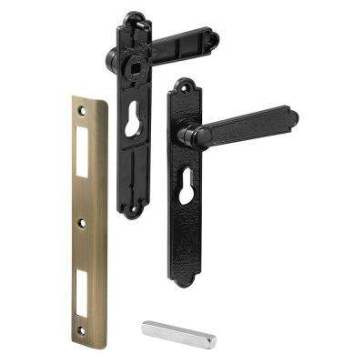 Security Door Lever Set, Black Dimpled