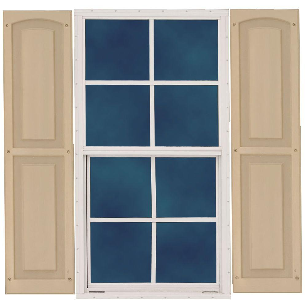 Best Barns 18 in. x 36 in. Single Hung Aluminum Window with Wood Shutters