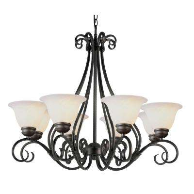New Victorian 8-Light Rubbed Oil Bronze Chandelier with Marbleized Shades