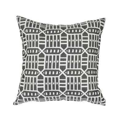 Roland Charcoal Square Outdoor Accent Lounge Throw Pillow