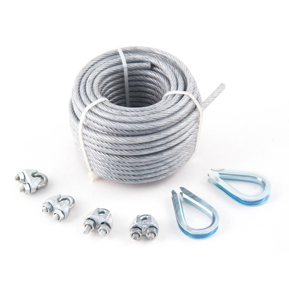 Everbilt 3/16 in. x 6 ft. Galvanized Wire Rope Security Cable-803182 ...