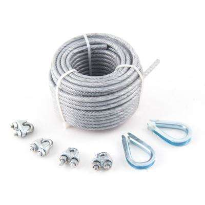 1/8 in. x 3/16 in. x 50 ft. PVC-Coated Galvanized Aircraft Cable 7x7 Construction with Clips and Thimbles