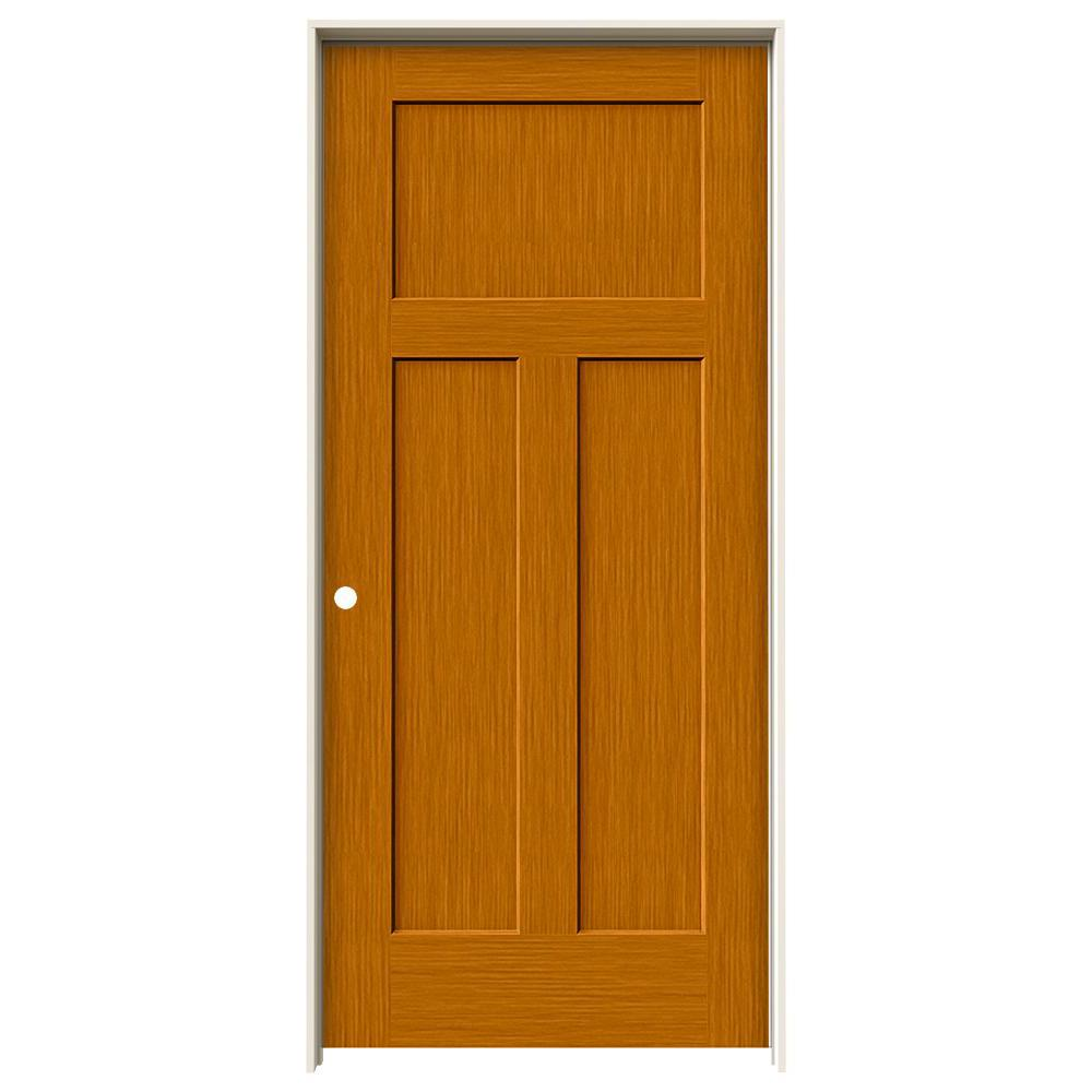 Jeld wen 36 in x 80 in craftsman saffron stain right for Mdf solid core interior doors