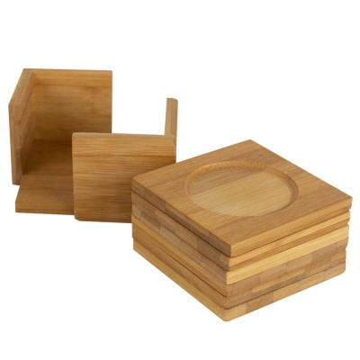 6-Piece Natural Bamboo Square Coaster with Raised Edge