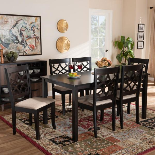 Baxton Studio Mael 7 Piece Sand And Dark Brown Dining Set 1661053310519hd The Home Depot
