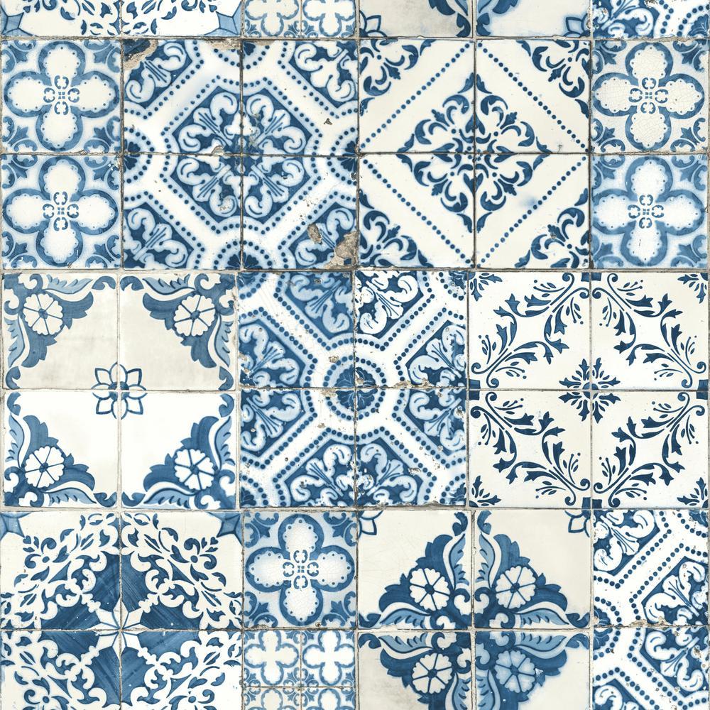 Mediterranian Tile Vinyl Peelable Wallpaper (Covers 28.18 sq. ft.)