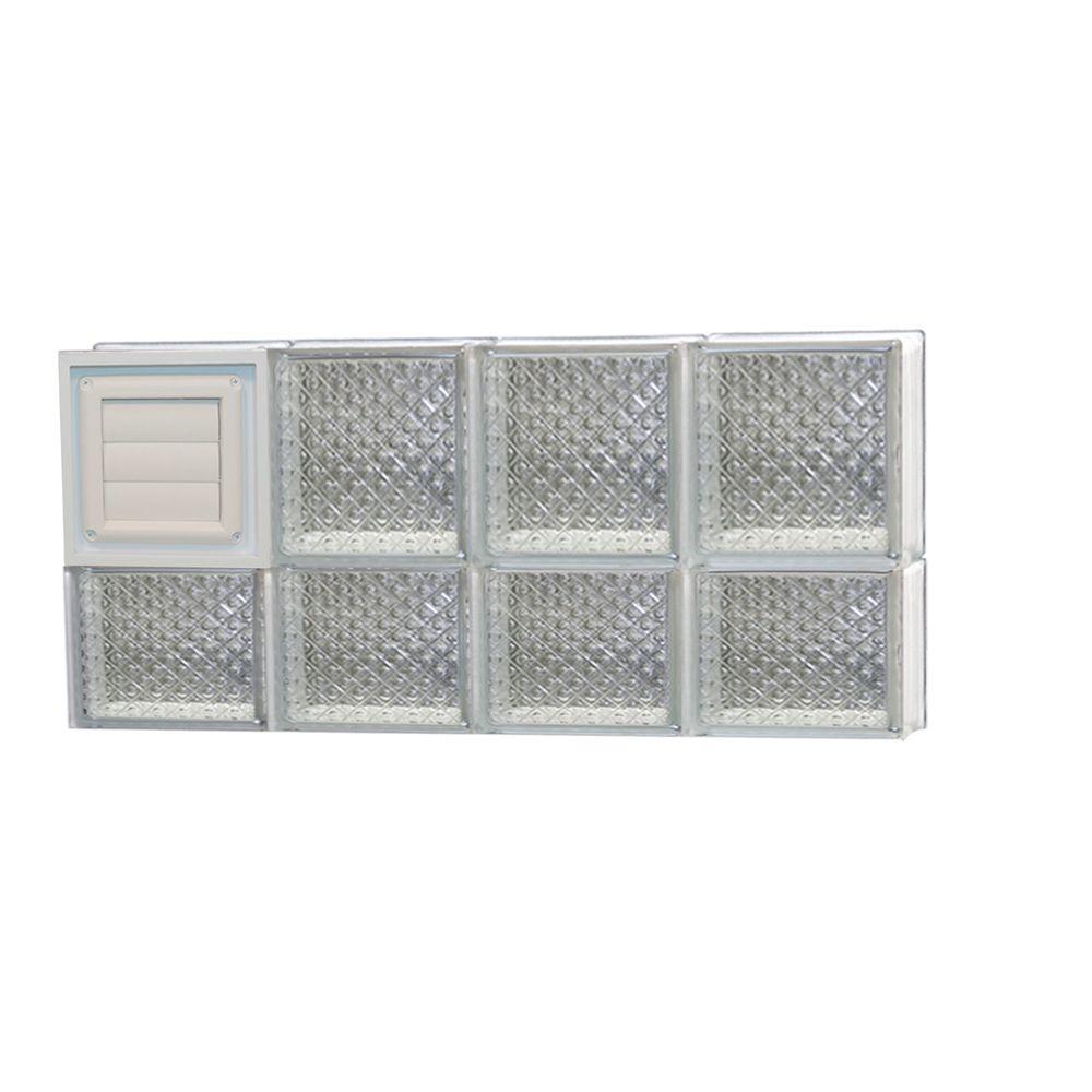 31 in. x 13.5 in. x 3.125 in. Frameless Diamond Pattern Glass Block Window with Dryer Vent