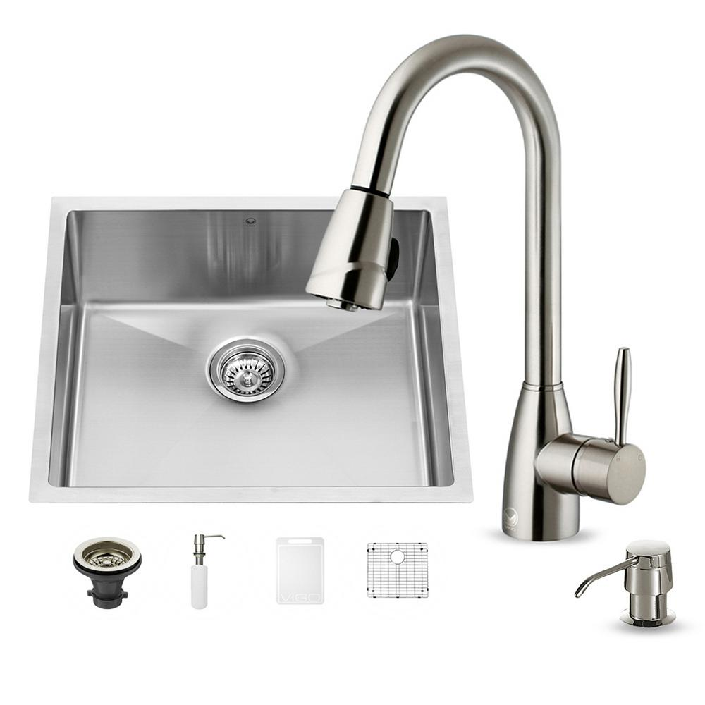 VIGO All-in-One Undermount Stainless Steel 23 in. 0-Hole Single Bowl Kitchen Sink in Stainless Steel