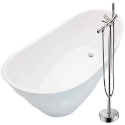 Stratus 67 in. Acrylic Flatbottom Non-Whirlpool Bathtub in White with Havasu Faucet in Brushed Nickel