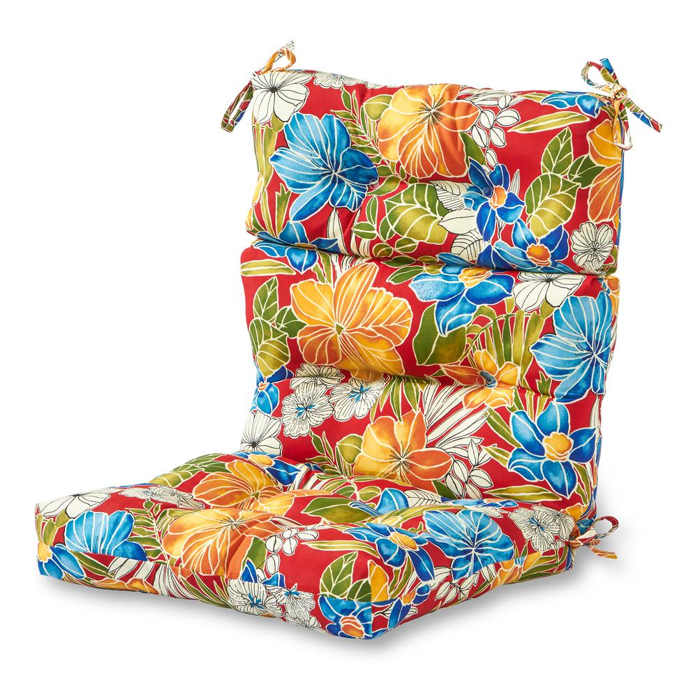 Aloha Red Outdoor High Back Dining Chair Cushion