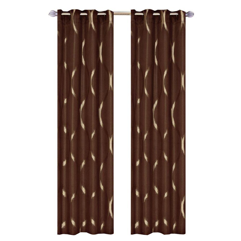lavish home brown metallic grommet curtain panel, 84 in. length (set of 2)-63-10009-bro - the
