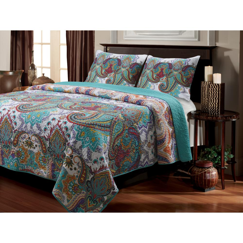 Nirvana 3-Piece Multi Full and Queen Quilt Set