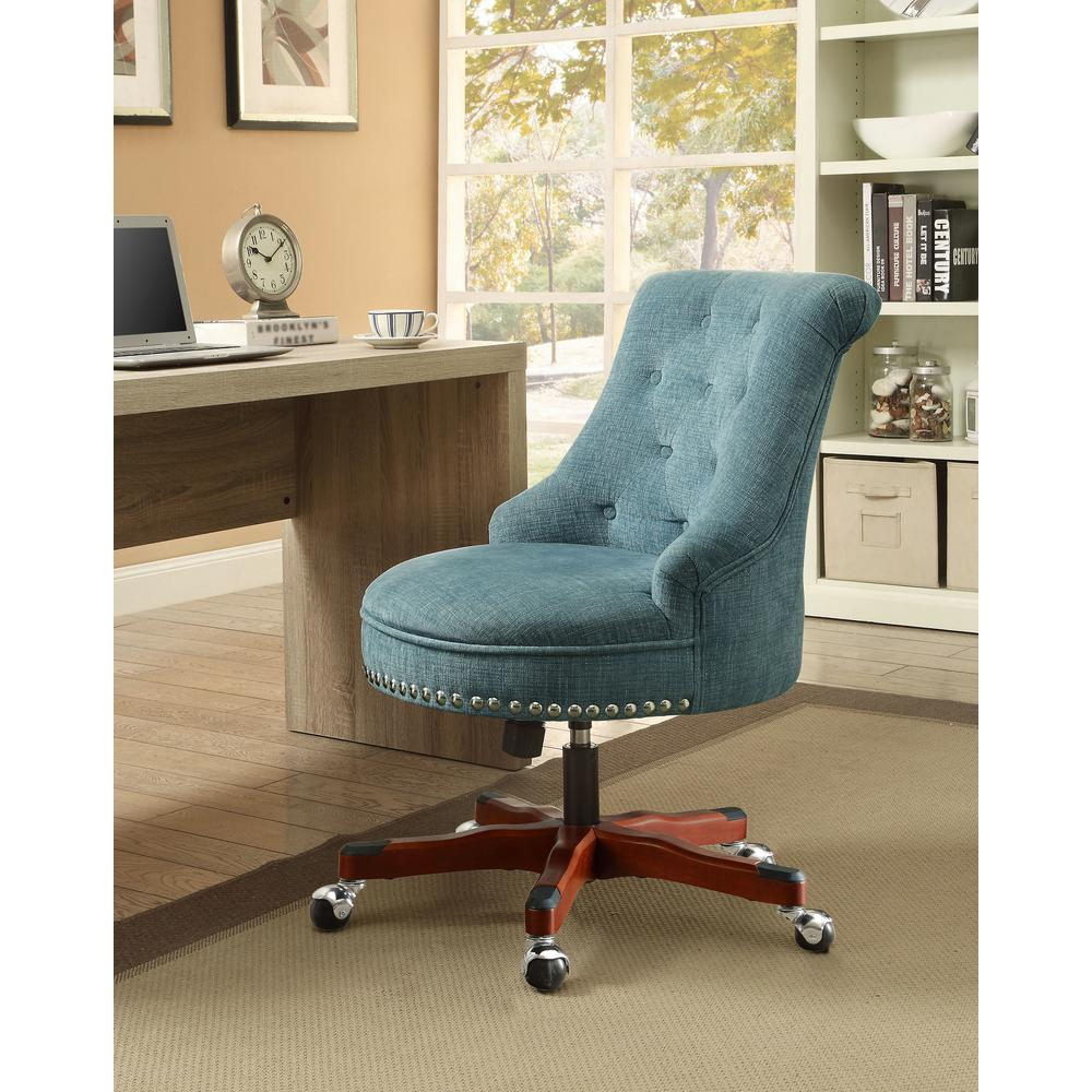 linon home decor sinclair aqua polyester office chair 178403aqua01u the home depot. Black Bedroom Furniture Sets. Home Design Ideas