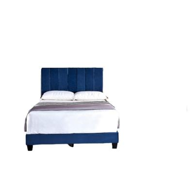 Mallory Space Blue Queen Upholstered Platform Bed