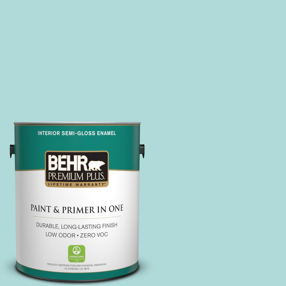 BEHR Premium Plus 1-gal. #510C-3 Rivers Edge Zero VOC Semi-Gloss Enamel Interior Paint